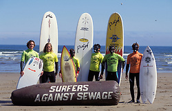 Surfers Against Sewage surfing campaigners; Saltburn; North Yorks UK May 1999