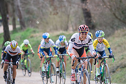 Joëlle Numainville gives her all across the gravel - 2016 Strade Bianche - Elite Women, a 121km road race from Siena to Piazza del Campo on March 5, 2016 in Tuscany, Italy.