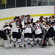 UConn players in a huddle before the UConn Vs Boston University, Women's Ice Hockey game at Mark Edward Freitas Ice Forum, Storrs, Connecticut, USA. 5th December 2015. Photo Tim Clayton