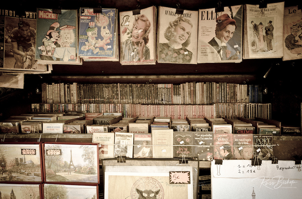 Old books and magazines for sale along the Seine, Paris, France
