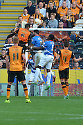Curtis Davies heads towards the goal during the Sky Bet Championship match between Hull City and Queens Park Rangers at the KC Stadium, Kingston upon Hull, England on 19 September 2015. Photo by Ian Lyall.