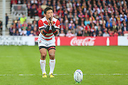 Japan's Ayumu Goromaru prepares to take a conversion kick during the Rugby World Cup Pool B match between Scotland and Japan at the Kingsholm Stadium, Gloucester, United Kingdom on 23 September 2015. Photo by Shane Healey.
