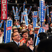 Party chair Raymond Buckley leads the NH delegation cheering Michelle Obama's speech at the 2012 Democratic National Convention