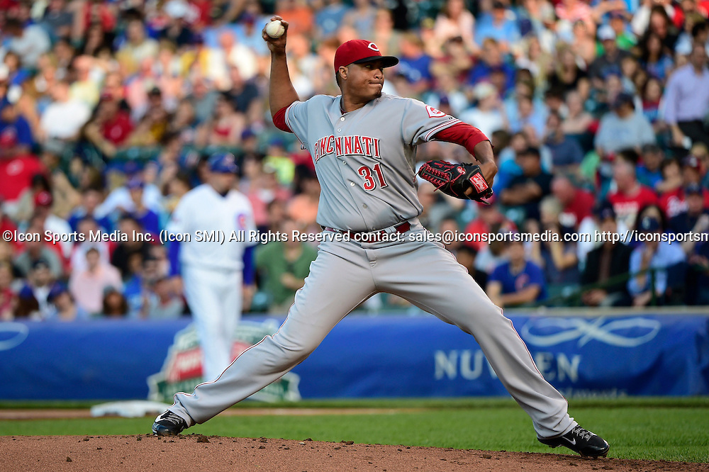 23 June 2014: Reds starting pitcher, Alfredo Simon, pitching in a MLB game between the Chicago Cubs and the Cincinnati Reds at Wrigley Field, Chicago, Il. Cincinnati defeated the Chicago 6-1.