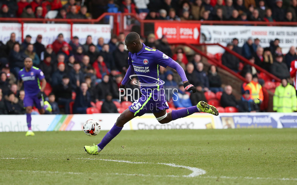 Charlton Athletic striker, Yaya Sanogo (25) shot on goal during the Sky Bet Championship match between Brentford and Charlton Athletic at Griffin Park, London, England on 5 March 2016. Photo by Matthew Redman.
