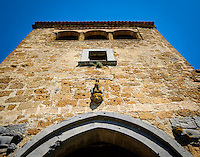 CIVITA DI BAGNOREGIO ITALY - CIRCA MAY 2015: View of  tower over the main gate in Civita di Bagnoregio.