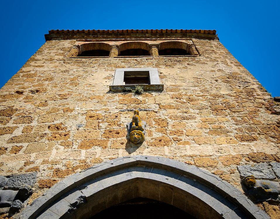 CIVITA DI BAGNOREGIO ITALY - CIRCA MAY 2015: View of  tower over the main gate in Civita di Bagnoregio.