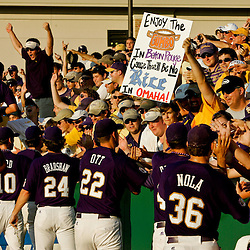 06 June 2009:  LSU Tigers players celebrate with fans following a 5-3 victory over the Rice Owls in game two of the NCAA baseball College World Series, Super Regional played at Alex Box Stadium in Baton Rouge, Louisiana. The Tigers with the win advance to next week's College Baseball World Series in Omaha, Nebraska.
