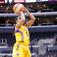 24 August 2014: Los Angeles Sparks guard Lindsey Harding (10) takes a jump shot during the Phoenix Mercury 93-68 victory over the Los Angeles Sparks, in a Conference Semi-Finals at the Staples Center, Los Angeles, California, USA.