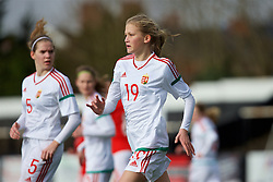 MERTHYR, WALES - Thursday, February 16, 2017: Hungary's Reka Csolti in action during a Women's Under-17's International Friendly match against Wales at Penydarren Park. (Pic by Laura Malkin/Propaganda)