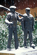 THIS PHOTO IS AVAILABLE FOR WEB DOWNLOAD ONLY. PLEASE CONTACT US FOR A LARGER PHOTO. Idaho. Sun Valley. Lewis and Clark statues in snow fall.