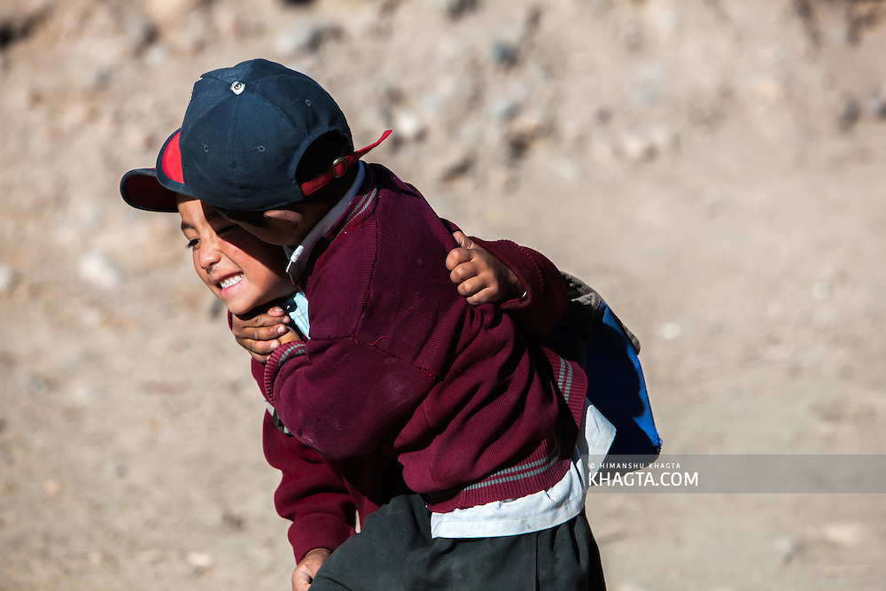 Kids playing in Shey, Ladakh. Shey was the ancient capital of Ladakh, a Himalayan desert region in the North of India