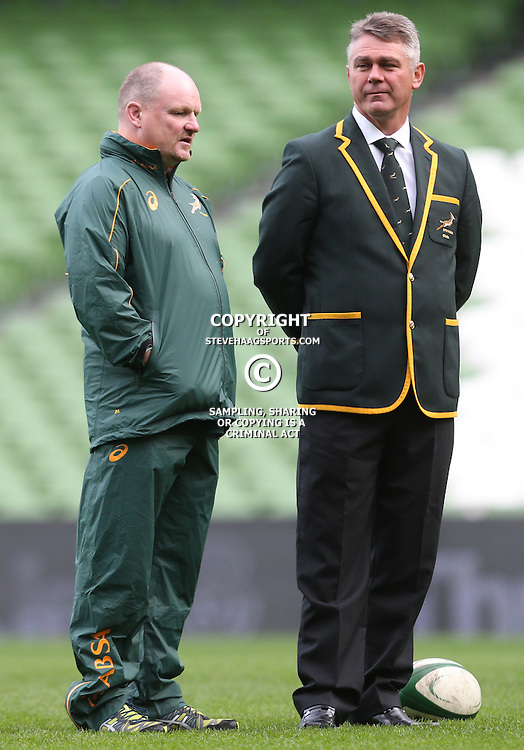 DUBLIN, IRELAND - NOVEMBER 07: John McFarland Defence Coach of South Africa with Heyneke Meyer (Head Coach) of South Africa during the South African National rugby team photo and captains run at AVIVA Stadium on November 07, 2014 in Dublin, Ireland. (Photo by Steve Haag/Gallo Images)