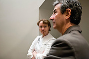 Grant Achatz (center), talks with artist Thomas Masters about placement of art in the main level dinning area of Alinea, an upscale restaurant which underwent a total gut renovation in the Lincoln Park neighborhood of Chicago, Ill., on Thursday, April 28, 2016. Nathan Weber for the New York Times