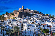 Ibiza Town and the cathedral of Santa Maria d'Eivissa, Ibiza, Balearic Islands, Spain.