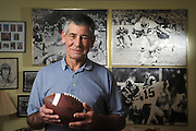 Former Redskins NFL linebacker, Chris Hanburger, may be voted into the Pro Football Hall of Fame this weekend. .     Hanburger and his wife, Evelyn, have retired to South Carolina. Their home office is a showcase of trophies, awards and a framed #55 Redskins jersey. Black &amp; white photographs from his football career hang in the upstair's quilting room..     An unassuming Hanburger points to his wife as the one who has put his trophies and football memorabilia on display.<br />