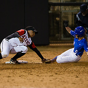 15 February 2018: The San Diego State softball team hosts #25 Kentucky to open up the 28th annual Campbell/Cartier Classic. San Diego State third baseman Iesha Hill (24) tags out Kentucky catcher Bailey Vick (2) attempting to advanced to third to end the sixth inning. The Aztecs lost to the Wildcats 5-0.<br /> More game action at www.sdsuaztecphotos.com