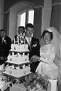 "05/09/1962<br /> 09/05/1962<br /> 05 September 1962<br /> Wedding of Fergus Keogh of ""Eagleville"", Strandville Avenue, Clontarf, Dublin to Miss Miriam Caffrey, Church Avenue, Drumcondra Dublin at the Church of the Visitation of the BVM, Fairview with reception at St. Lawrence Hotel, Howth. Mr. keogh was full-back for Bective Rangers at the time. Cutting the cake!"