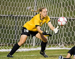 VCU Rams goalkeeper Lauren Hardison (18) makes a save against UVA.  The Virginia Cavaliers defeated the VCU Rams 5-0 in women's soccer at Klockner Stadium on the Grounds of the University of Virginia in Charlottesville, VA on August 31, 2008.