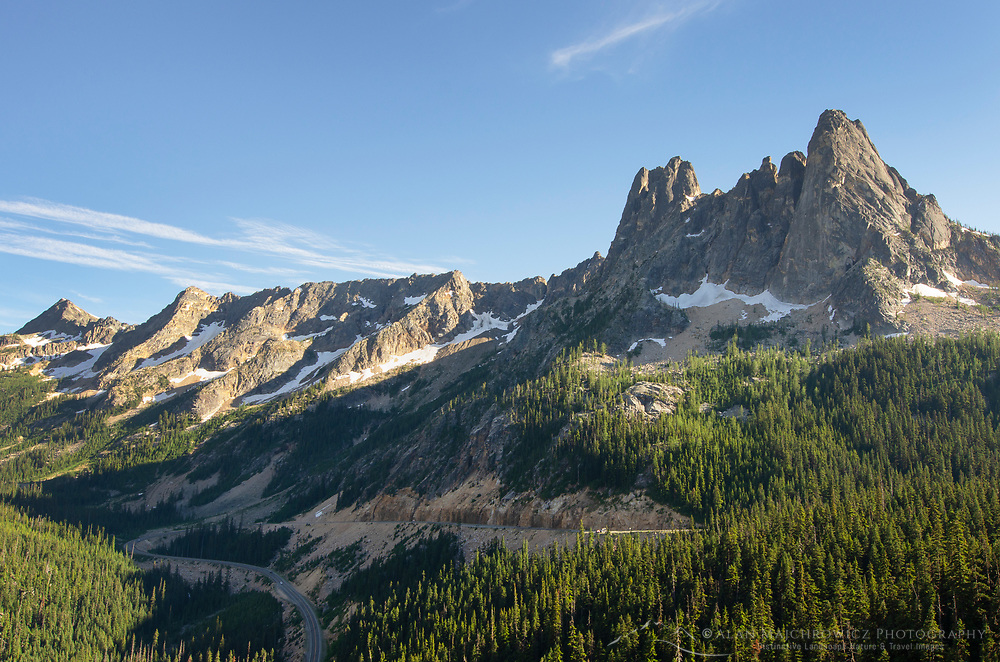 Liberty Bell Mountain, Early Winters Spires, and North Cascades Highway seen from Washington Pass. North Cascades washington