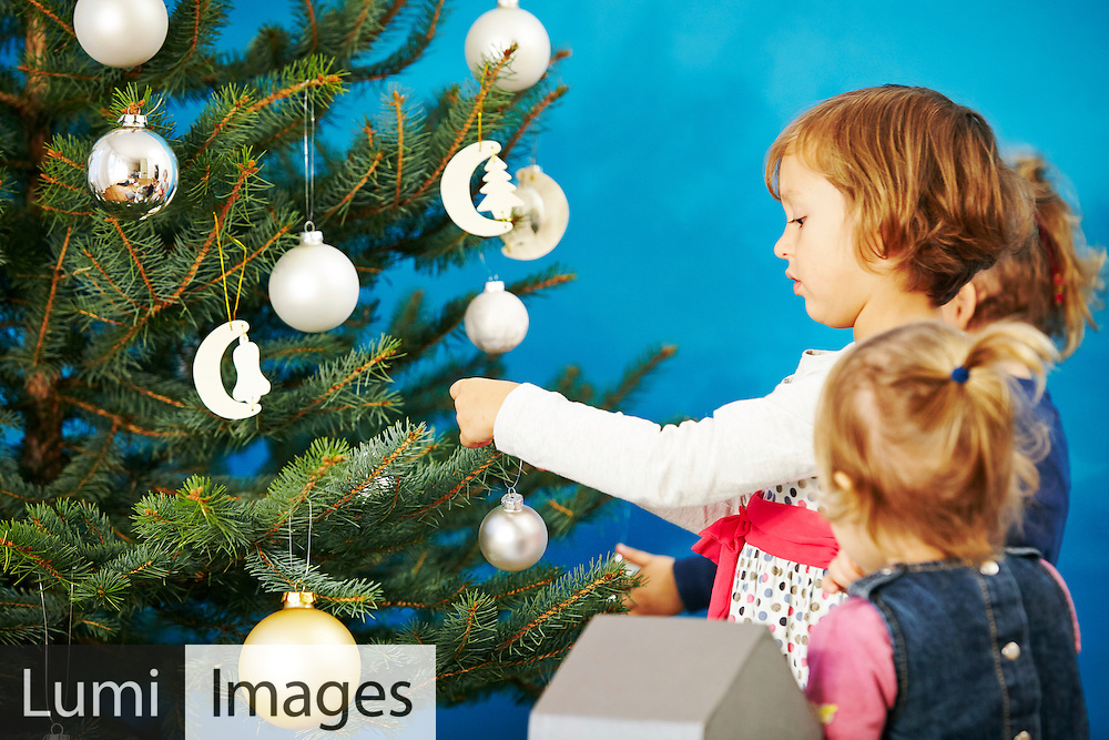 Christmas, Decorating, Christmas Tree, Children