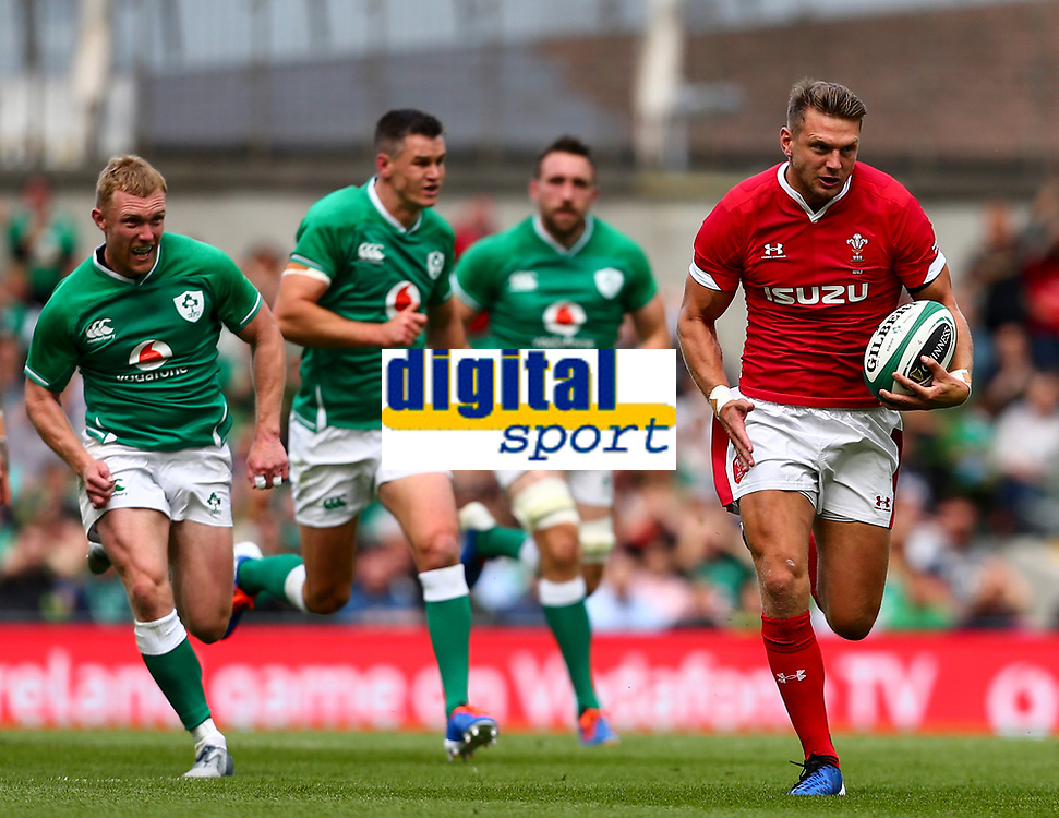 Rugby Union - 2019 pre-Rugby World Cup warm-up (Guinness Summer Series) - Ireland vs. Wales<br /> <br /> Dan Biggar (Wales) breaks away with an interception at The Aviva Stadium.<br /> <br /> COLORSPORT/KEN SUTTON