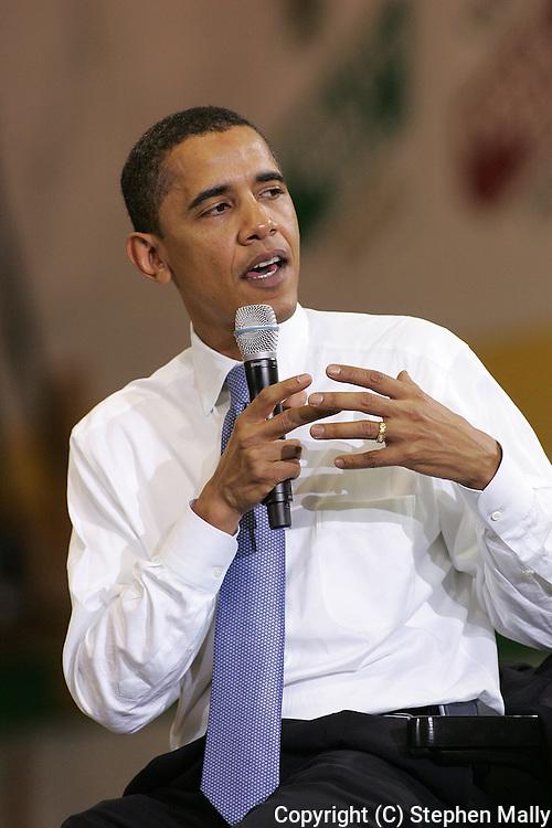10 February 2007:  Democratic presidential hopeful Senator Barack Obama (D-IL) speaks at a town hall meeting at Kennedy High School in Cedar Rapids, Iowa on February 10, 2007.