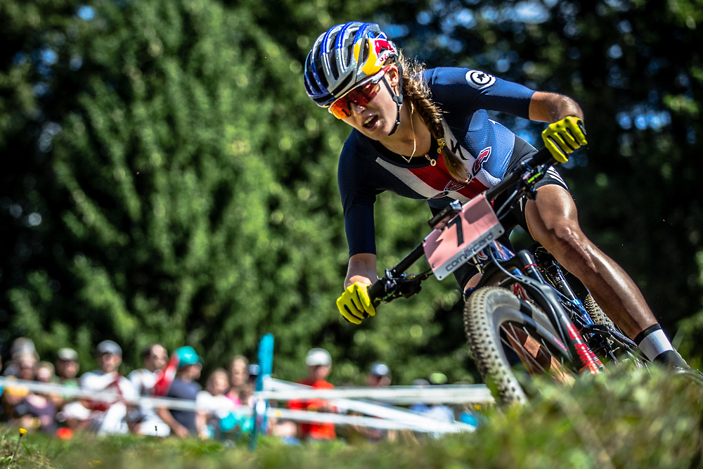 Kate Courtney (USA) during the Women Elite Cross Country event at the 2018 UCI MTB World Championships - Lenzerheide, Switzerland