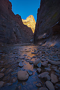 Stones in the Virgin River in Zion Narrows in Zion national Park, Utah