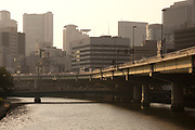 The Okawa River in the center of Osaka.