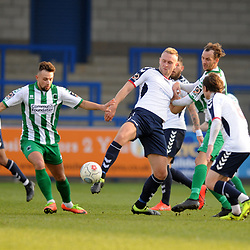 TELFORD COPYRIGHT MIKE SHERIDAN 30/3/2019 - Jon Royle battles for the ball during the Vanarama National League North fixture between AFC Telford United and Blyth Spartans at the New Bucks Head.