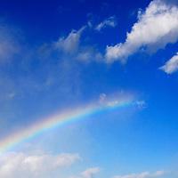 Canada, Ontario, Niagara Falls. Rainbow reaching from mist to the sky, Niagara Falls.