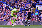 Chelsea Goalkeeper Thibaut Courtois (13) safe hands during the Barclays Premier League match between Chelsea and Leicester City at Stamford Bridge, London, England on 15 May 2016. Photo by Jon Bromley.