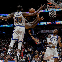 Oct 20, 2017; New Orleans, LA, USA; New Orleans Pelicans forward DeMarcus Cousins (0) is fouled by Golden State Warriors forward David West (3) as forward Kevin Durant (35) defends during the second half of a game at the Smoothie King Center. The Warriors defeated the Pelicans 128-120.  Mandatory Credit: Derick E. Hingle-USA TODAY Sports