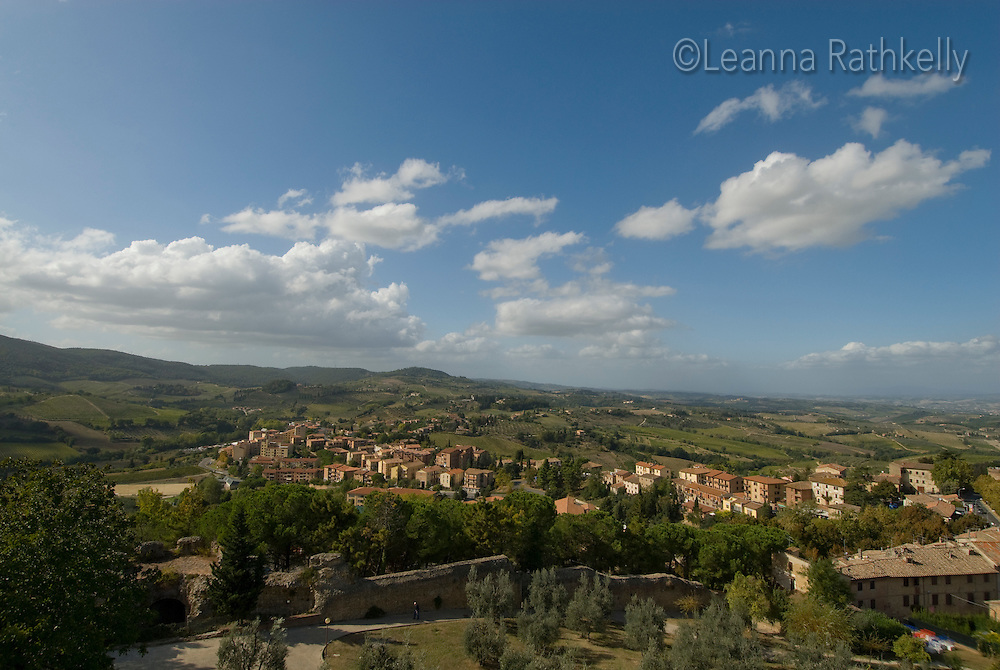 The view from the fortress at San Gigmignano overlooks the rolling landscape of Tuscany.