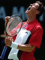 MELBOURNE, AUSTRALIA - JANUARY 23: Marat Safin of Russia celebrates match point during day five of the Australian Open January 23, 2004 in Melbourne, Australia. (Photo by Lars Mueller/Sportsbeat) *** Local Caption *** -