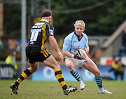 Wycombe, GREAT BRITAIN, Britols, Ed BARNES, looks for a way round, Joe WORSLEY, during the Guinness Premiership match, London Wasps vs Bristol Rugby, played at the Adams Park Stadium, on Sat. 23rd Feb 2008. [Mandatory Credit, Peter Spurrier/Intersport-images]