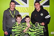 Match sponsor with man of the match Forest Green Rovers Matty Stevens(9) during the The FA Cup match between Forest Green Rovers and Carlisle United at the New Lawn, Forest Green, United Kingdom on 30 November 2019.