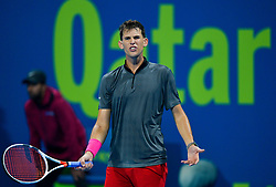 Dominic Thiem of Austria reacts during his game against  Pierre-Hugues HERBERT of France at the first round of ATP Qatar Open Tennis match at the Khalifa International Tennis Complex in Doha, capital of Qatar, on January 01, 2019. Herbert won 2-0  (Credit Image: © Nikku/Xinhua via ZUMA Wire)