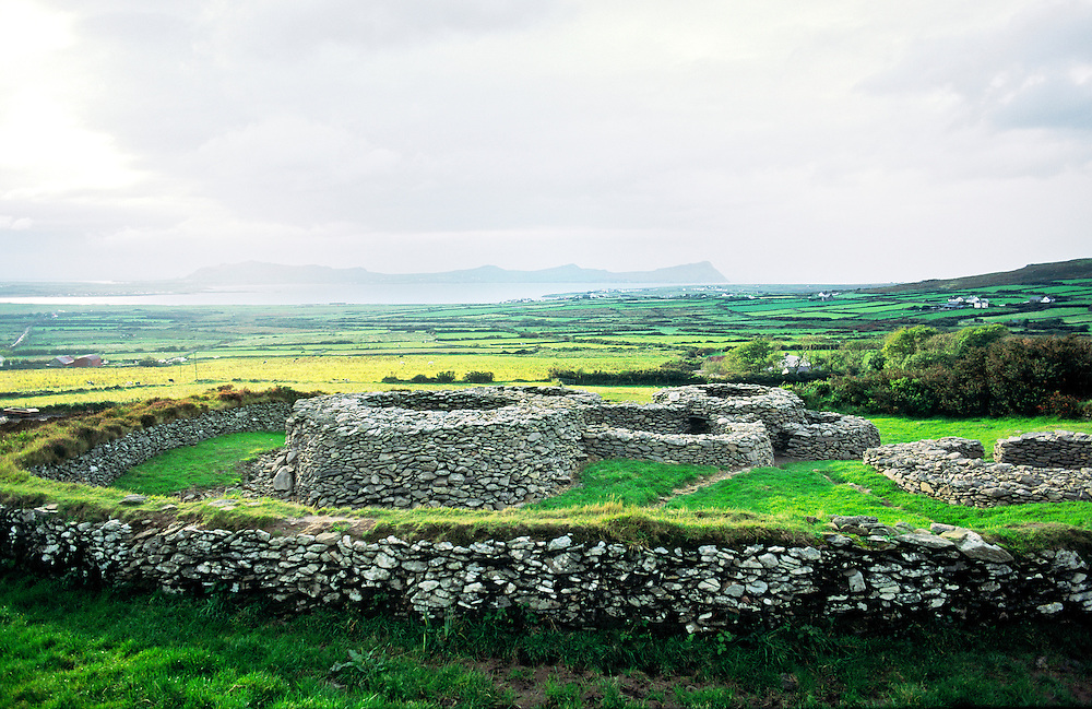 Caherdorgan cashel or ring fort. Celtic fortified settlement near Kilmakedar on the Dingle Peninsula, County Kerry, Ireland.