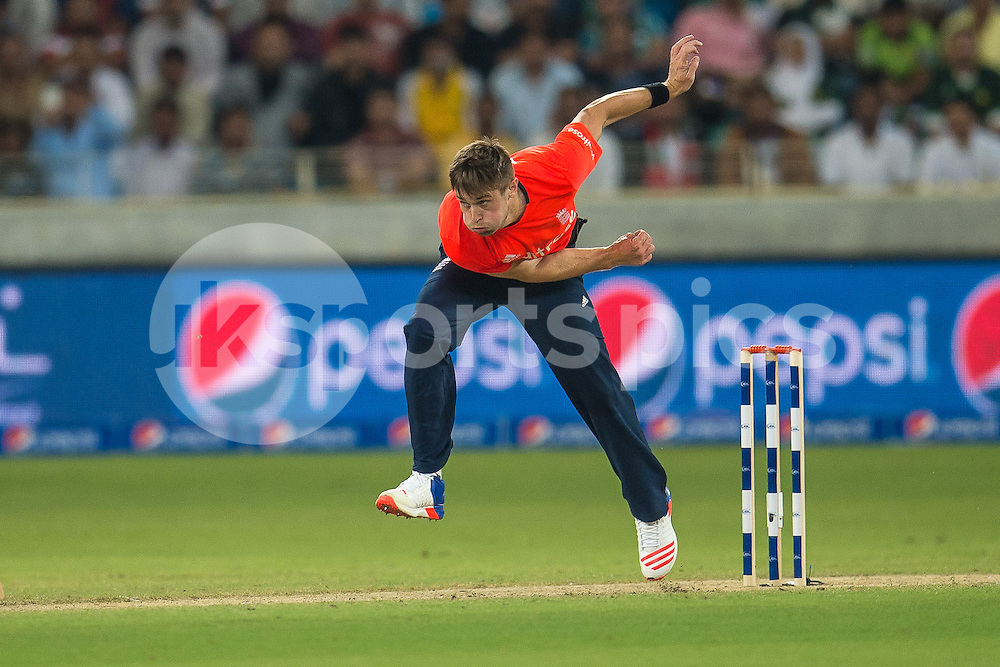 Chris Woakes of England bowling during the 2nd International T20 Series match between Pakistan and England at Dubai International Cricket Stadium, Dubai, UAE on 27 November 2015. Photo by Grant Winter.