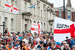 "EDL supporters outside Rotherham Town Hall before the start of the English Defence Leagues Justice for the Rotherham 1400 March on Saturday Afternoon described by an EDL Facebook Page as ""a protest against the Pakistani Muslim grooming gangs"" on Saturday Afternoon <br /> <br /> <br /> Image © Paul David Drabble <br /> www.pauldaviddrabble.co.uk"