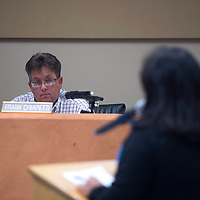 Superintendent Frank Chiapetti listens to public comments at the Gallup McKinley County school board meeting in Gallup Monday.