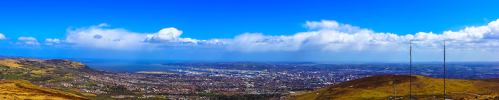 View overlooking Belfast from the summit of Divis Mountain, including, from left, Cavehill, Belfast Harbour and Strangford Lough