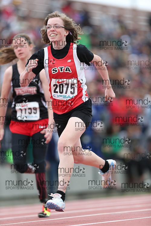Sara Albers of St Thomas Aquinas - London competes in the 100m at the 2013 OFSAA Track and Field Championship in Oshawa Ontario, Thursday,  June 6, 2013.<br /> Mundo Sport Images / Sean Burges