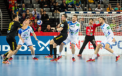 Players during handball match between National teams of Slovenia and Montenegro on Day 5 in Preliminary Round of Men's EHF EURO 2018, on January 17, 2018 in Arena Zagreb, Zagreb, Croatia. Photo by Ziga Zupan / Sportida