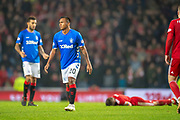 Alfredo Morelos (#20) of Rangers FC knows he is about to get a second yellow card during the Ladbrokes Scottish Premiership match between Rangers and Aberdeen at Ibrox, Glasgow, Scotland on 5 December 2018.