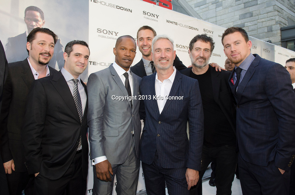 WASHINGTON DC JUNE 21: James Vanderbilt, Bradley J. Fischer, Reid Carolin, Jamie Fox, Roland Emmerich,  Harald Kloser, and Channing Tatum pose on the red carpet during the DC premiere of White House Down at AMC Georgetown in Washington DC on June 21, 2013.<br />
