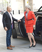 Theresa May <br /> Prime Minister <br /> arriving at the BBC for the Andrew Marr show, BBC Broadcasting House, London, Great Britain <br /> 30th April 2017 <br /> <br /> <br /> Theresa May MP <br /> Leader of the Conservatives <br /> <br /> Photograph by Elliott Franks <br /> Image licensed to Elliott Franks Photography Services
