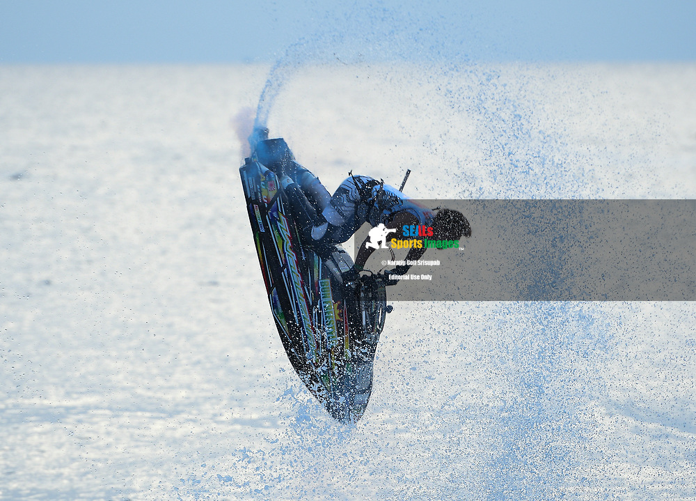 PATTAYA, THAILAND - DECEMBER 09: Taiji Yamamoto of Japan and Bun Freestyle executing the double backflip during the second run at the Thai Airways International Jet Ski World Cup 2018, Jomtien Beach, Pattaya, Thailand on December 09, 2018. <br /> .<br /> .<br /> .<br /> (Photo by: Naratip Golf Srisupab/SEALs Sports Images)<br /> .<br /> Any image use must include a mandatory credit line adjacent to the content which should read: Naratip Golf Srisupab/SEALs Sports Images
